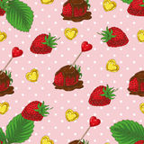 Seamless Pattern with Chocolate Covered Strawberries and Hearts. Seamless vector Pattern with Ripe Red Chocolate Covered Strawberries and Hearts on a Pink Stock Photography