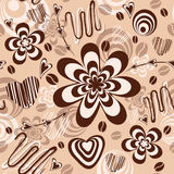 Seamless pattern with chocolate cream and coffee. Seamless background illustrated with sweets. Vector colorful pattern Stock Photos