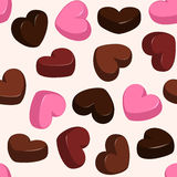 Seamless pattern with chocolate hearts Royalty Free Stock Photo