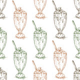 Seamless pattern chocolate milkshake scetch Stock Image