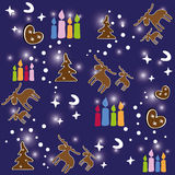 Seamless pattern of Christmas. Colorful seamless pattern of Christmas with gingerbread and candles Royalty Free Stock Photography