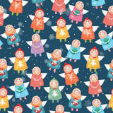 Seamless pattern with christmas angels. Royalty Free Stock Photography