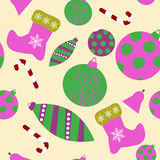 Seamless pattern with christmas attributes Stock Photos