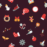 Seamless pattern. Christmas background with icons symbolizing the new year Royalty Free Stock Images