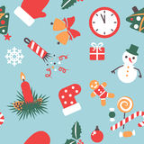 Seamless pattern. Christmas background with icons symbolizing the new year Stock Images