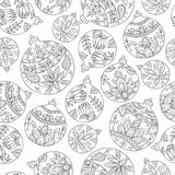 Seamless pattern with christmas balls. Paisley indian style deco Royalty Free Stock Photo