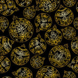 Seamless pattern with christmas balls. Paisley indian style deco Royalty Free Stock Images