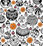 Seamless pattern of Christmas balls with slices of orange on the white background. Christmas balls with slices of orange seamless pattern on the white background Royalty Free Stock Image