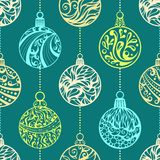 Seamless pattern of Christmas balls. Various Christmas balls. Ornate round shapes. Hand-drawn ornament. Seamless pattern can be used for wallpapers, web page Stock Photo