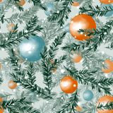 Seamless pattern with christmas balls 6. Watercolor seamless pattern with fir tree branches and christmas balls Stock Photos