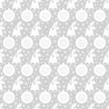 Seamless pattern with Christmas bell with holly, balls, snowflakes. White flat elements on the silver-gray background. Royalty Free Stock Photography