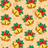 Seamless pattern of Christmas bells with leafs Royalty Free Stock Photos