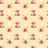 Seamless pattern with christmas bells. And plants on a yellow background. Vector illustration Royalty Free Stock Photo