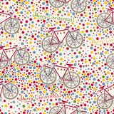 Seamless pattern with christmas bike and gift box Stock Photography