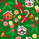 Seamless pattern of Christmas Candy Cane, bell, house and holly. Vector seamless pattern of Christmas Candy Cane with red bow, bell, citrus, house and holly on Stock Photos