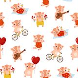 Seamless pattern. Seamless Christmas pattern with cartoon cute pigs. Design for banner, poster or print vector illustration