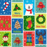 Seamless pattern with christmas characters and decorations Stock Images