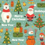 Seamless pattern with Christmas characters. Vector illustration, eps Royalty Free Stock Photo