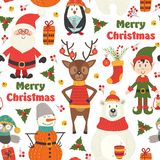 Seamless pattern with  Christmas characters on white background. Vector illustration, eps Royalty Free Stock Images