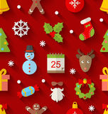Seamless Pattern with Christmas Colorful Objects Stock Photo