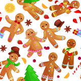 Seamless pattern christmas cookies gingerbread man and girl decorated with icing dancing and having fun in a cap with Royalty Free Stock Photos