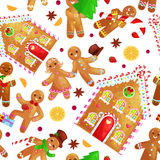 Seamless pattern christmas cookies gingerbread man and girl near sweet house decorated with icing dancing and having fun Stock Photos