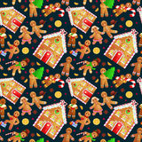 Seamless pattern christmas cookies gingerbread man and girl near sweet house decorated with icing dancing and having fun. Set christmas cookies gingerbread man stock illustration