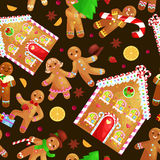 Seamless pattern christmas cookies gingerbread man and girl near sweet house decorated with icing dancing and having fun. Set christmas cookies gingerbread man vector illustration