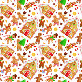 Seamless pattern christmas cookies gingerbread man and girl near sweet house decorated with icing dancing and having fun Stock Photo