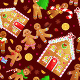 Seamless pattern christmas cookies gingerbread man and girl. Set christmas cookies gingerbread man and girl near sweet house decorated with icing dancing and royalty free illustration