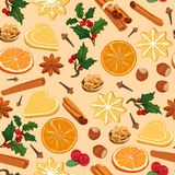 Christmas pattern with traditional cookies and spices. vector illustration