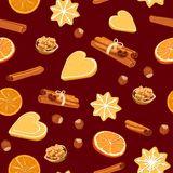 Seamless pattern with christmas cookies, spices and nuts vector illustration