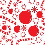 Seamless pattern with christmas decorations Royalty Free Stock Photography