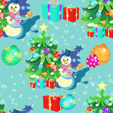 Seamless pattern with Christmas decorations, gifts, snowman, sno Stock Photo