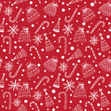 Seamless pattern with Christmas decorations. Seamless red pattern with white Christmas decorations Stock Photo