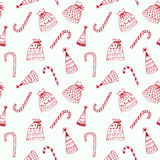 Seamless pattern with Christmas decorations. Seamless white pattern with Christmas decorations Royalty Free Stock Photography
