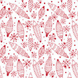Seamless pattern with Christmas decorations. Seamless white pattern with red Christmas decorations Royalty Free Stock Image