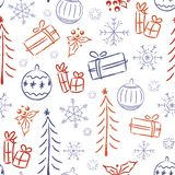 Seamless pattern with Christmas doodles. Festive decorations and gifts royalty free illustration