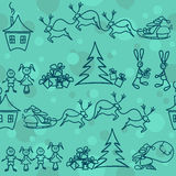 Seamless pattern of christmas elements Stock Photo