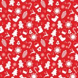 Seamless pattern with Christmas elements isolated on a white background. Vector illustration.  Royalty Free Stock Images