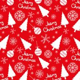 Seamless pattern of christmas elements. On a red background Royalty Free Stock Photo