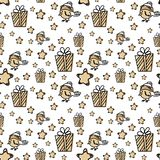 Seamless pattern with Christmas elements in vector stock illustration
