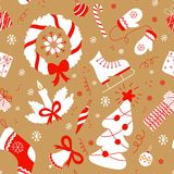 Seamless pattern with christmas elements. Vector New year background. Seasonal festive  pattern for textile design, wrapping paper, scrapbooking Stock Photography