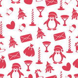 Seamless pattern with Christmas elements on white background. Red elements. New Year packaging for gifts Stock Photography