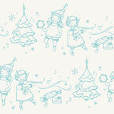 Seamless pattern with Christmas elves musicians Stock Photos