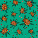 Seamless pattern of Christmas fir cones Stock Image