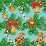 Seamless pattern with Christmas fir tree branches, candies, bell. And xmas gingerbread, winter holiday background Stock Photography