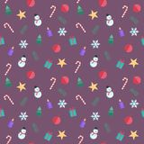 Seamless Pattern with Christmas Flat Icons. Cute vector cartoon Illustration. Collection of Christmas elements. Seamless Pattern with Christmas Flat Icons. Cute vector illustration