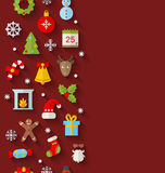 Seamless Pattern with Christmas Flat Icons Stock Images