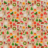 Seamless Pattern with Christmas Flat Icons. Stock Images